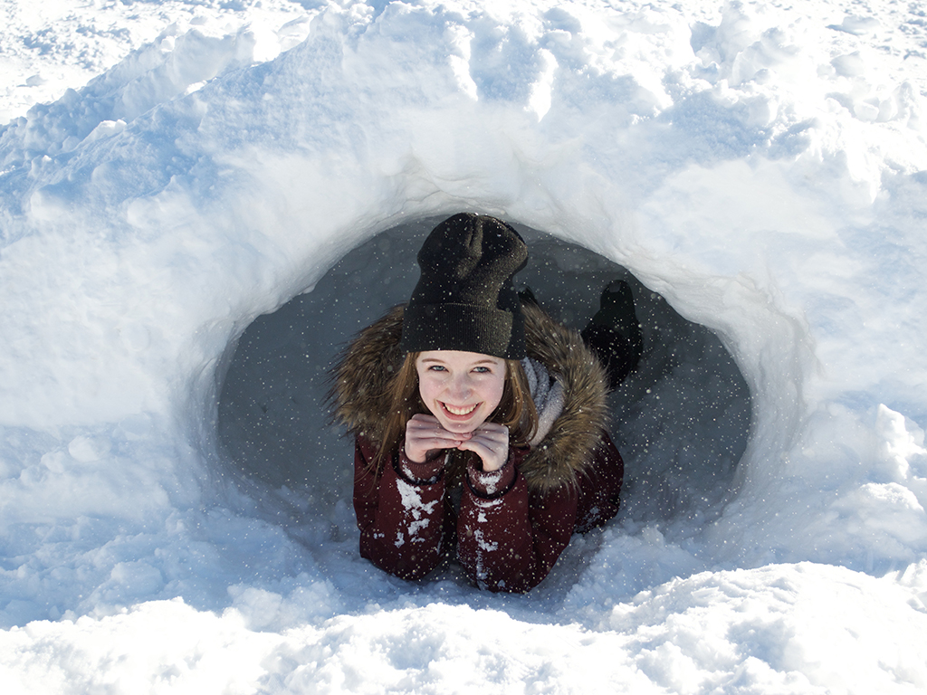 Photo of Marie-Laure Brossay in snowbank