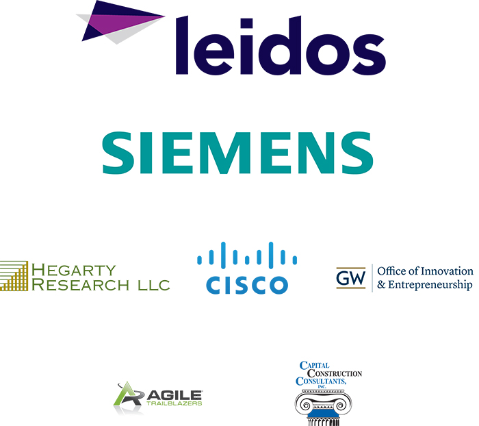 Leidos, Simens, Hegarty Research llc, Cisco, GW Office of Innovation and Entrepreneurship, Agile trailblazers, and capital construction consultants inc. logo