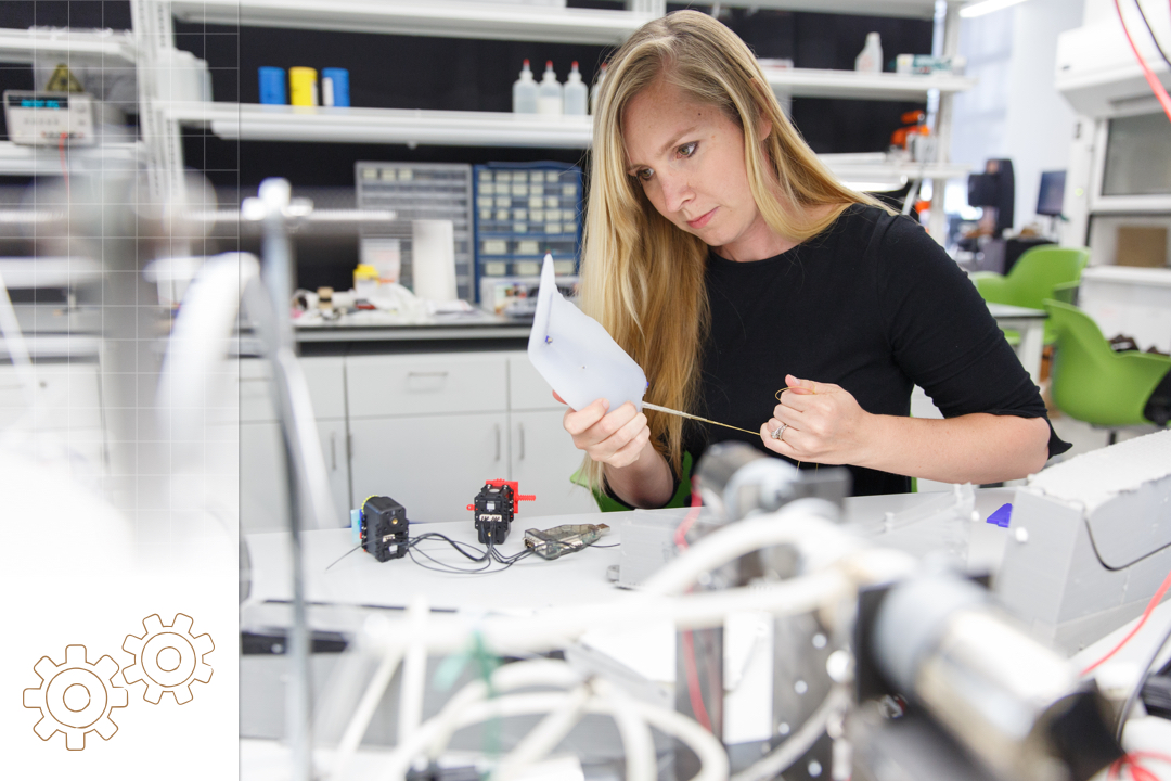 Photo of megan leftwich in a science lab