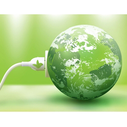Image of green, plugged in Earth