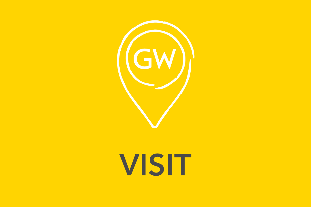 Graphical image of yellow Visit Us Icon