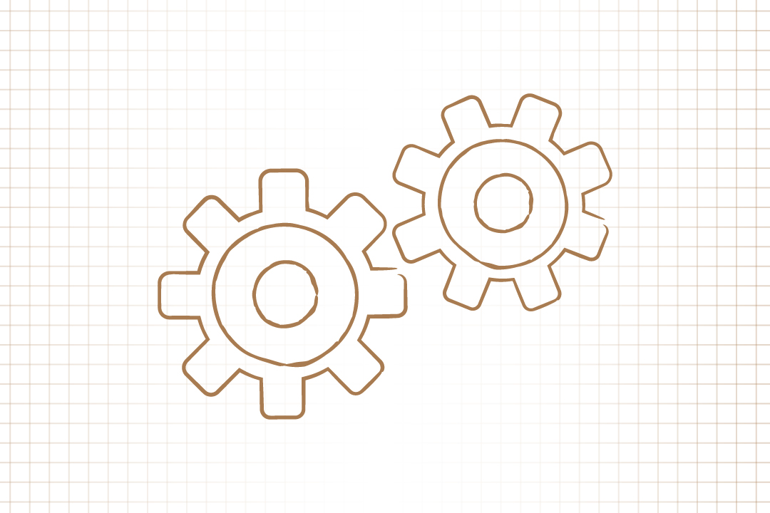 GW pinpoint; Graphic image of gears