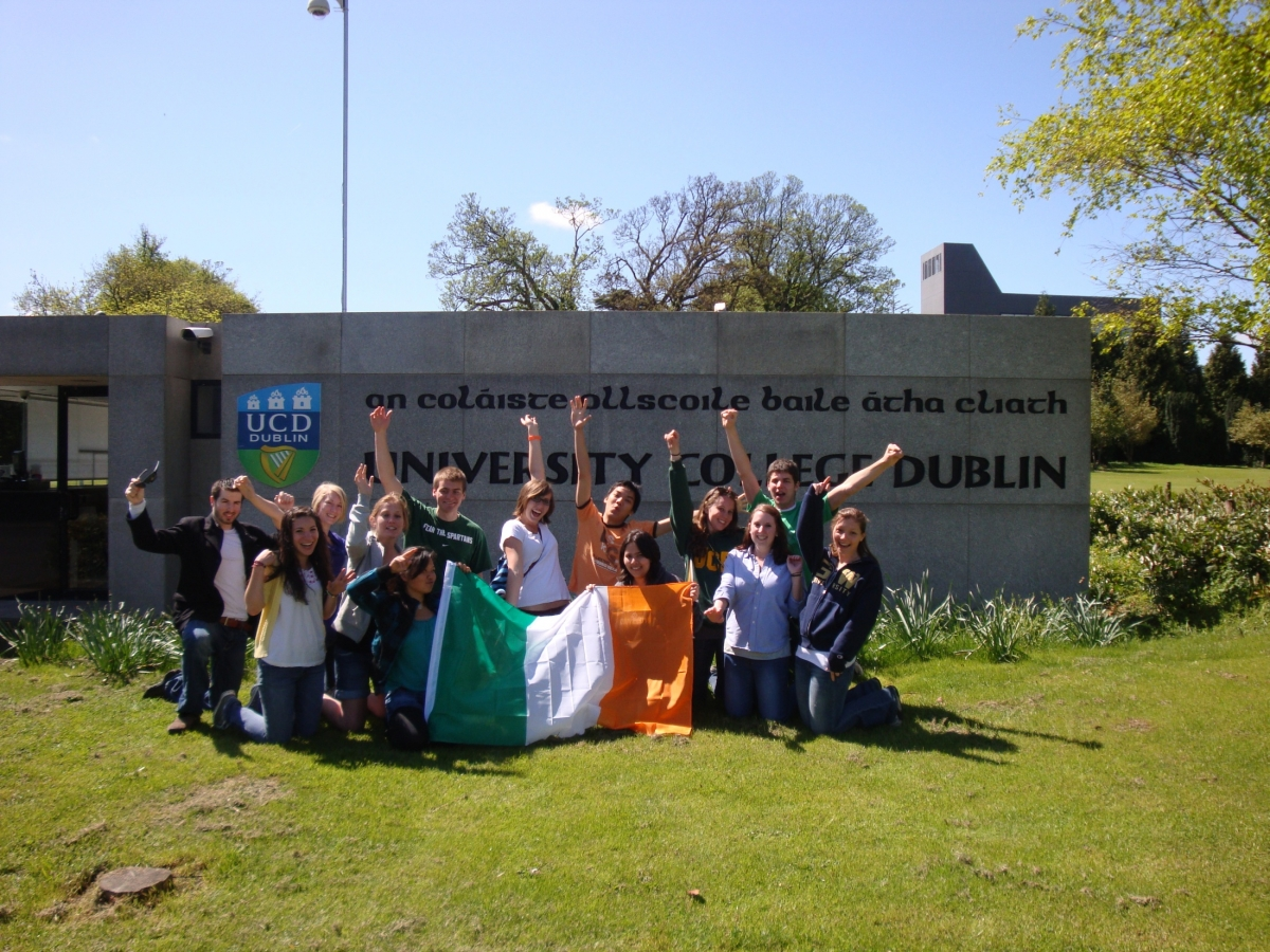 Photo of University College Dublin Study Abroad Students holding Irish flag