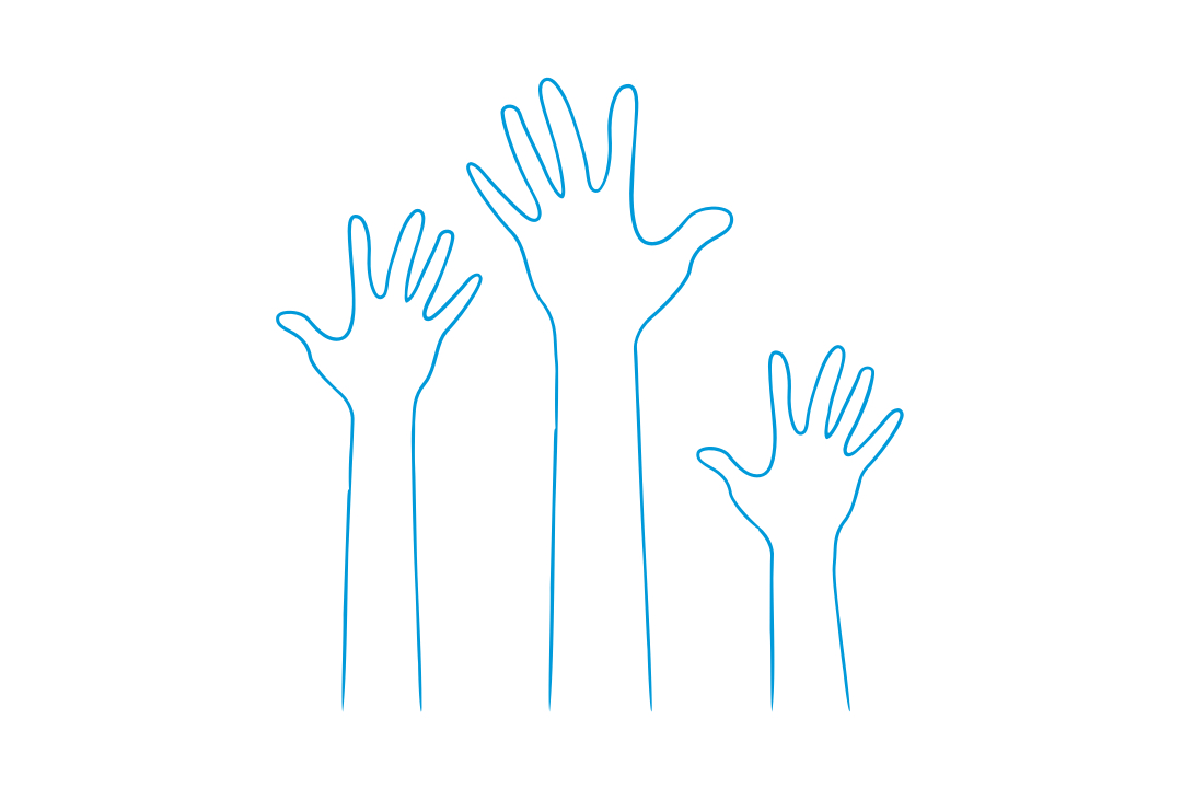 GW Pinpoint; Graphical image of hands in the air; Student Mentor Program